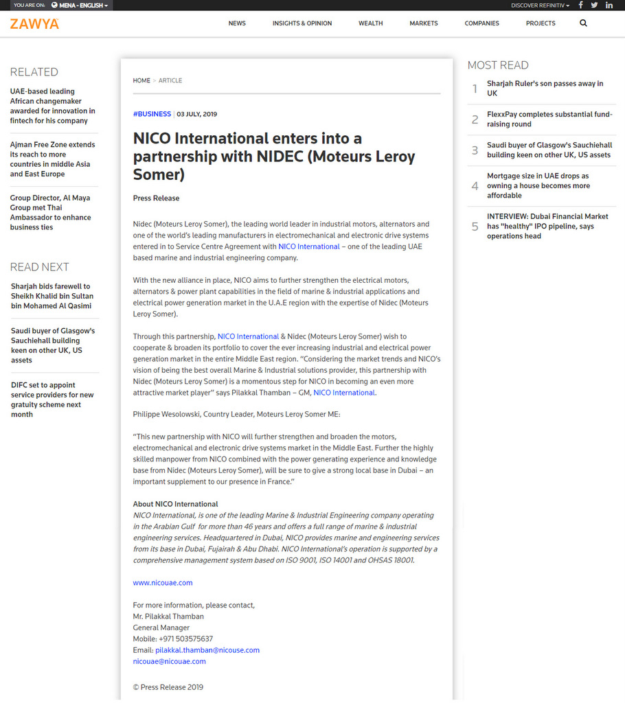 Nico International | Media Coverages
